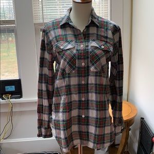 J Crew plaid holiday button down